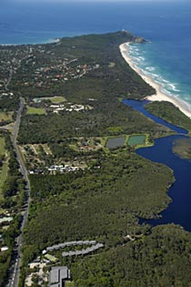Byron Bay aerial view from rainforest resort